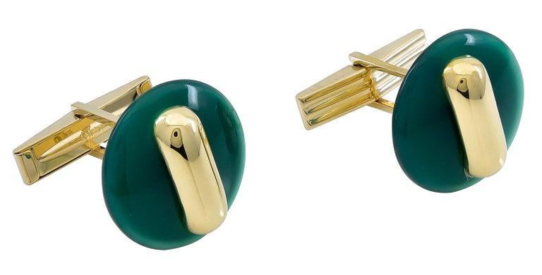 Women's or Men's Cartier Gold and Jade Cufflinks For Sale