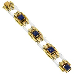 Cartier Gold Lapis and Rock Crystal Bracelet