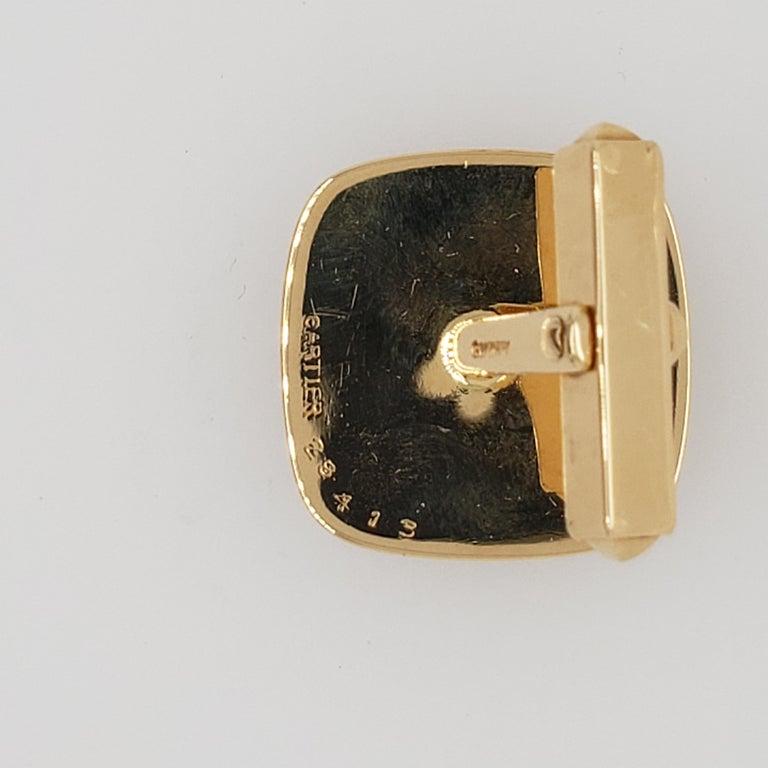 Cushion Cut Cartier Gold and Lapis Lazuli Cufflinks For Sale