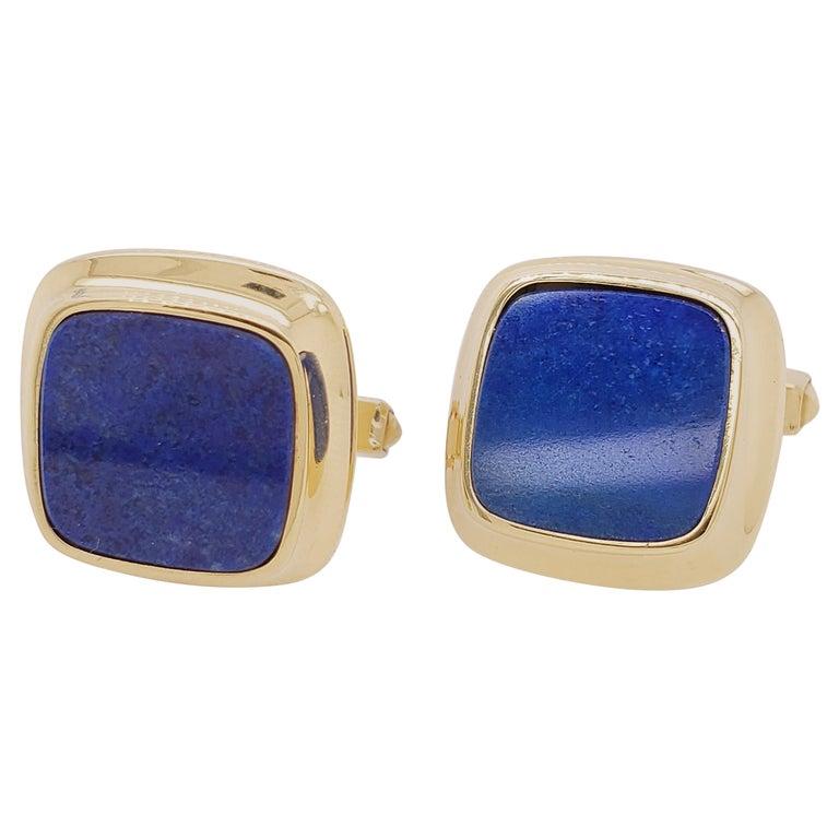 Cartier Gold and Lapis Lazuli Cufflinks For Sale