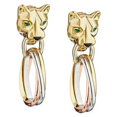 Cartier Gold Panther Clip-On Emerald Eyes Onyx Nose Drop Earrings