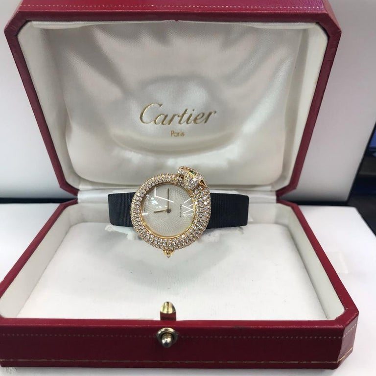 Modern Cartier Gold Panther Diamond Emerald Pave Leather Strap 2309 Watch For Sale
