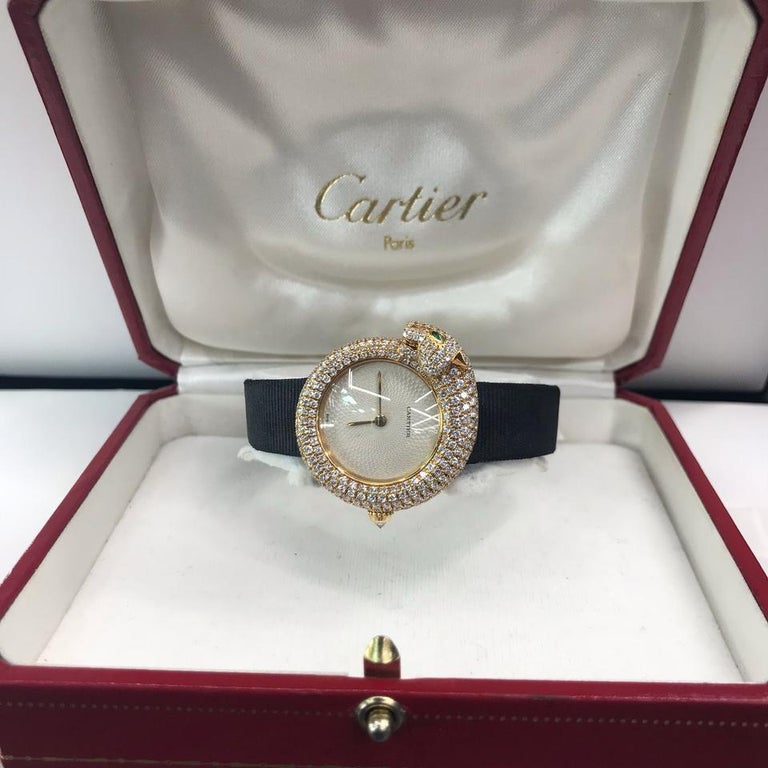 Cartier Gold Panther Diamond Emerald Pave Leather Strap 2309 Watch In Excellent Condition For Sale In New York, NY