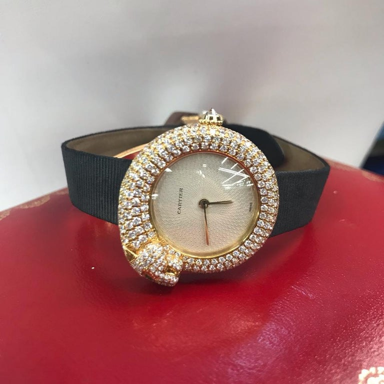 Cartier Gold Panther Diamond Emerald Pave Leather Strap 2309 Watch For Sale 1