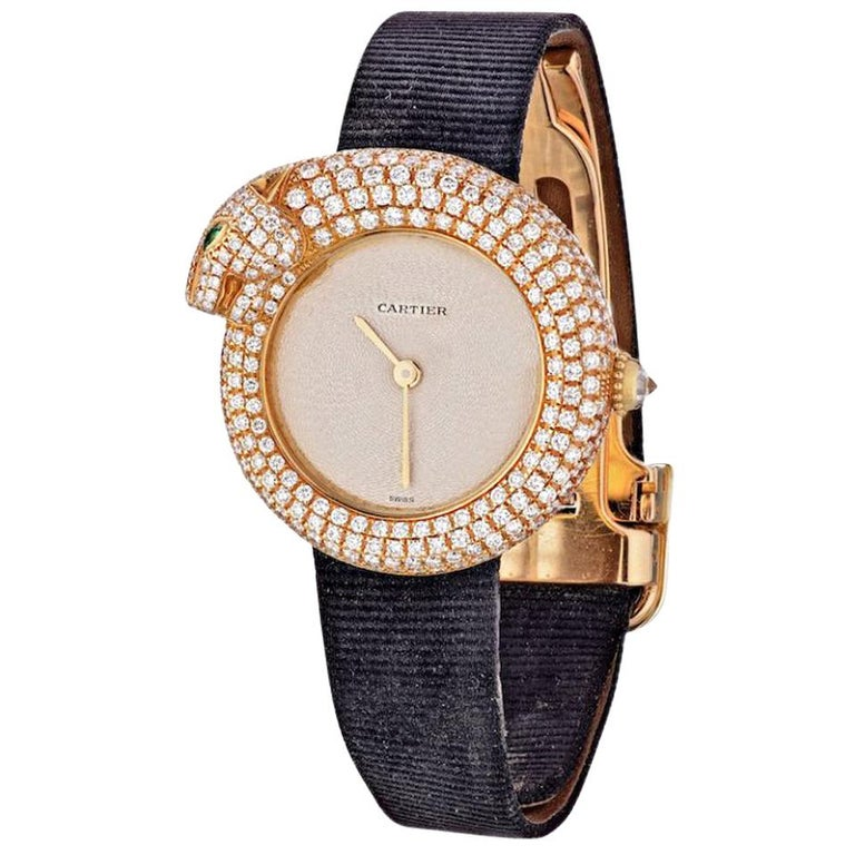 Cartier Gold Panther Diamond Emerald Pave Leather Strap 2309 Watch For Sale