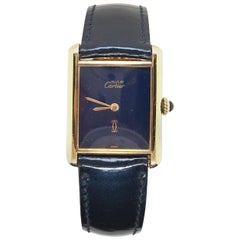 Cartier Gold-Plated Sterling Silver and Lapis Lazuli Tank Watch