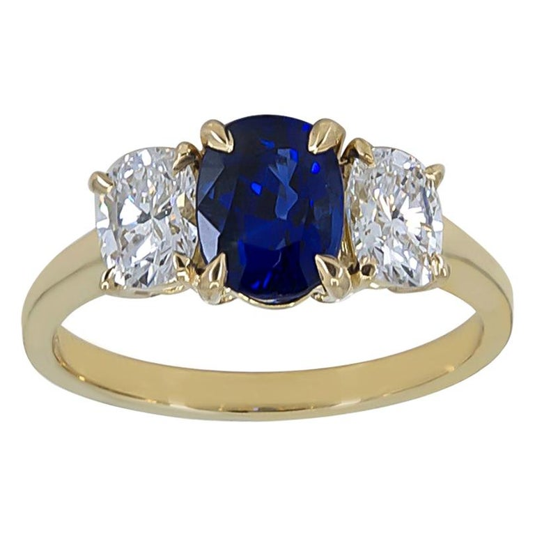 Cartier Gold Sapphire and Diamond Ring For Sale