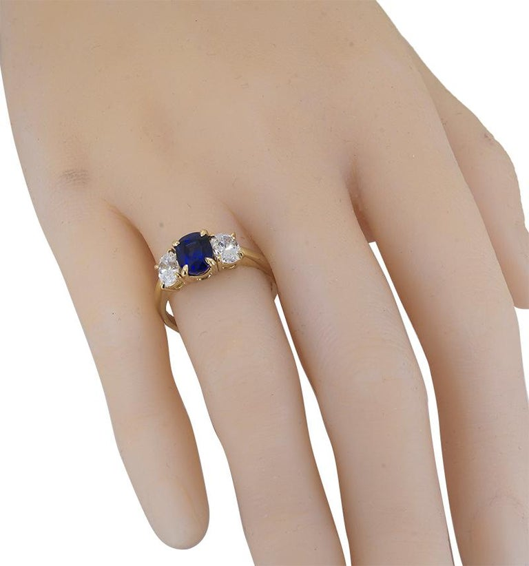 Women's or Men's Cartier Gold Sapphire and Diamond Ring For Sale