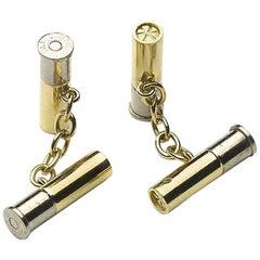 Cartier Gold Shotgun Cartridge Cufflinks, Circa 1950