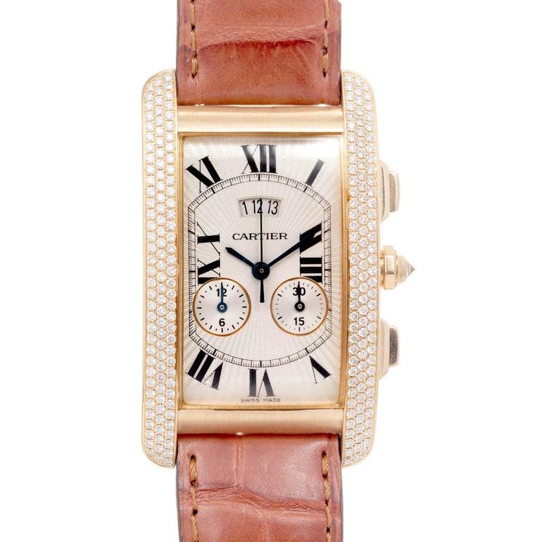 Cartier Yellow Gold Diamond Tank Americaine Chronograph Wristwatch Ref 2568