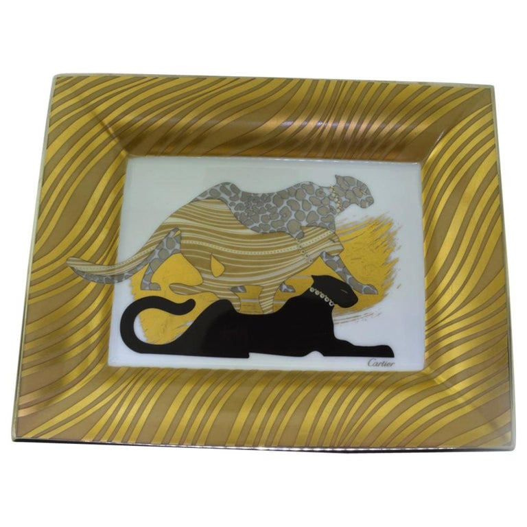 Cartier Gold-Toned Three Panther Porcelain Ashtray For Sale