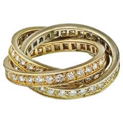 Cartier Gold Trinity Full Circle Diamond Band 1.55 Carat Ring