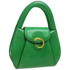 Cartier Green Leather Gold Emblem Kelly Style Top Handle Satchel Flap Bag