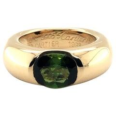 Cartier Green Tourmaline Ring in 18 Karat Yellow Gold