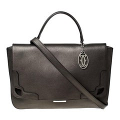 Cartier Grey Metallic Leather and Suede Flap Top Handle Bag