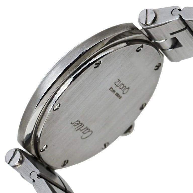 Contemporary Cartier Grey Stainless Steel Santos Round Women's Wristwatch 32MM For Sale