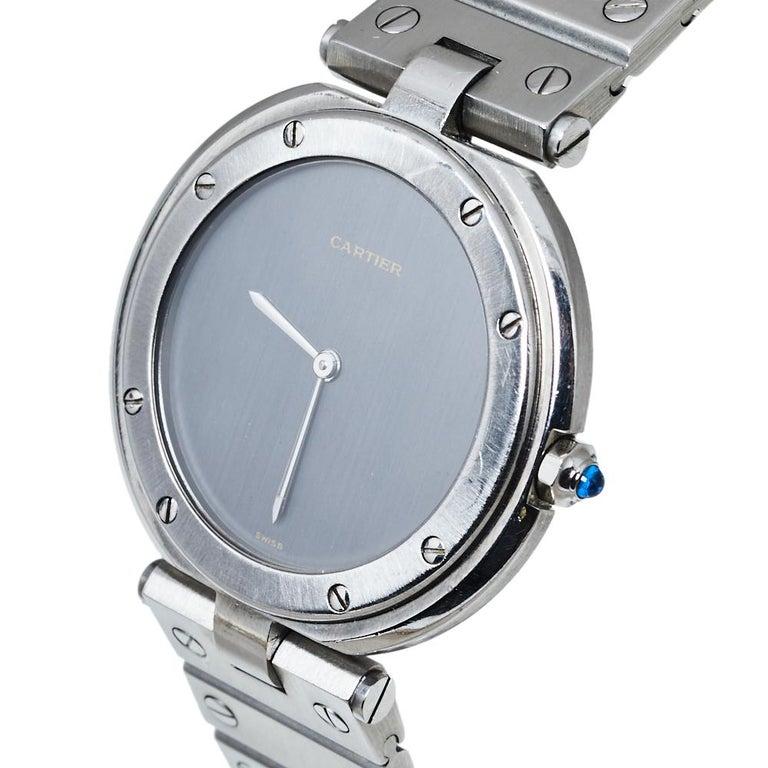 Cartier Grey Stainless Steel Santos Round Women's Wristwatch 32MM In Good Condition For Sale In Dubai, Al Qouz 2