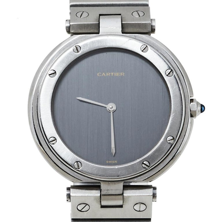 Cartier Grey Stainless Steel Santos Round Women's Wristwatch 32MM For Sale 1