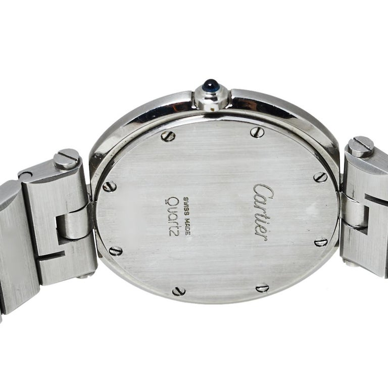 Cartier Grey Stainless Steel Santos Round Women's Wristwatch 32MM For Sale 2