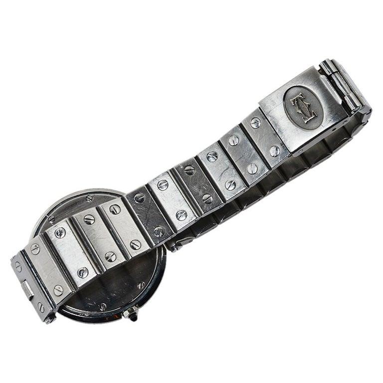 Cartier Grey Stainless Steel Santos Round Women's Wristwatch 32MM For Sale 4