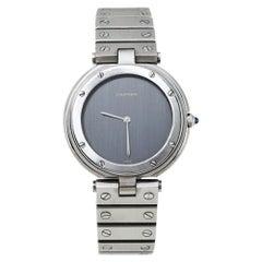 Cartier Grey Stainless Steel Santos Round Women's Wristwatch 32MM