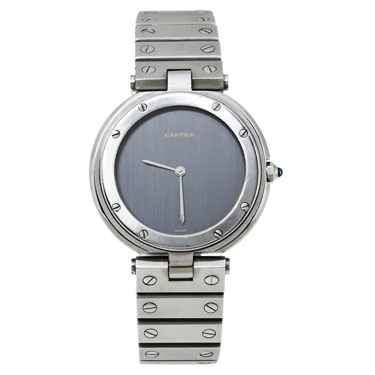 Cartier Grey Stainless Steel Santos Round Women's Wristwatch 32MM For Sale
