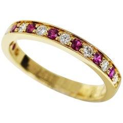 Cartier Half Eternity Diamond Ruby 18 Karat Yellow Gold Ring US 4.5