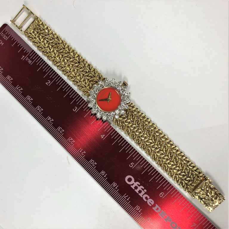 Cartier/Hammerman 1970s Gold Coral Dial Double Diamond Bezel Watch For Sale 6