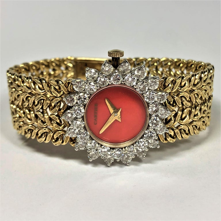 Cartier/Hammerman 1970s Gold Coral Dial Double Diamond Bezel Watch In Good Condition For Sale In Palm Beach, FL
