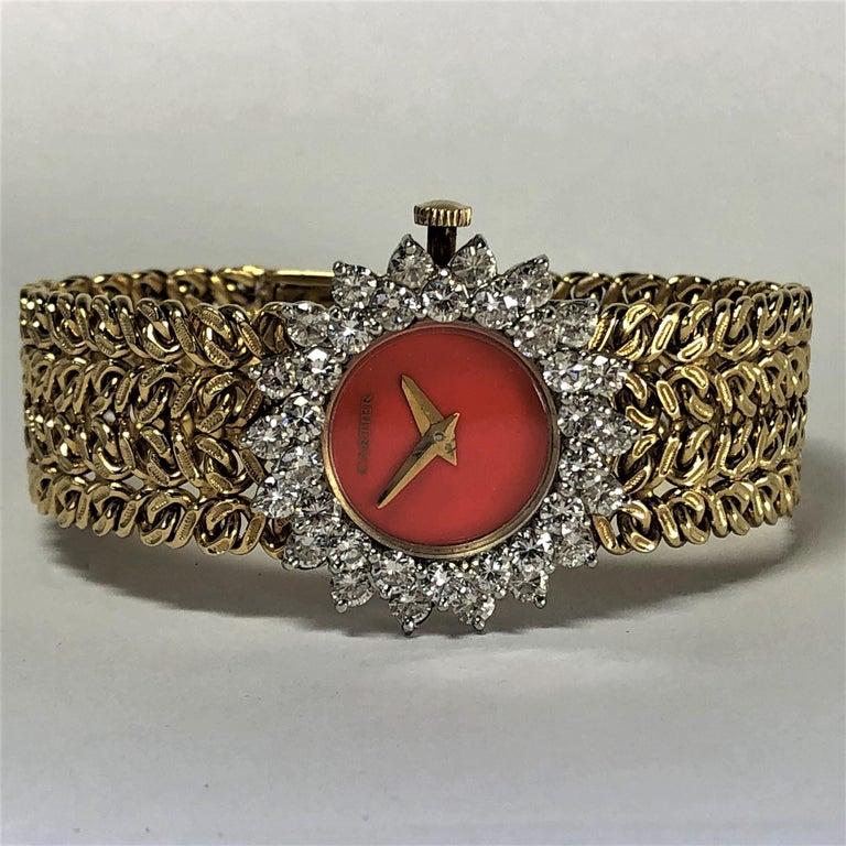 Cartier/Hammerman 1970s Gold Coral Dial Double Diamond Bezel Watch For Sale 5