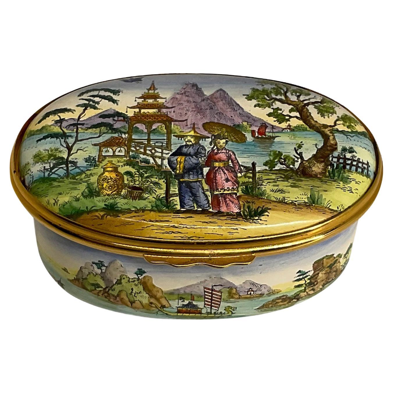 Cartier Hand Painted Enamel Porcelain Trinket Box