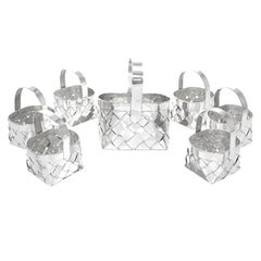 Cartier Handmade Sterling Baskets, Set of 7
