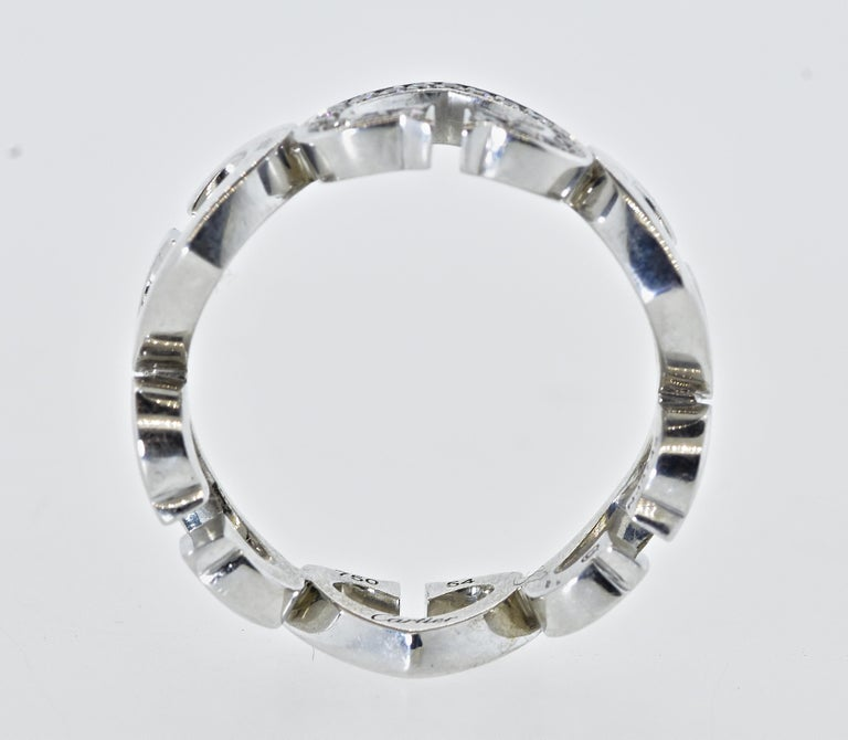 Brilliant Cut Cartier Heart and Symbol Diamond 18K White Gold Ring For Sale
