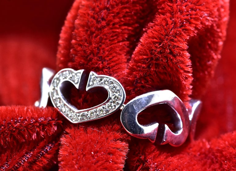 Cartier Heart and Symbol Diamond 18K White Gold Ring In Excellent Condition For Sale In Aspen, CO