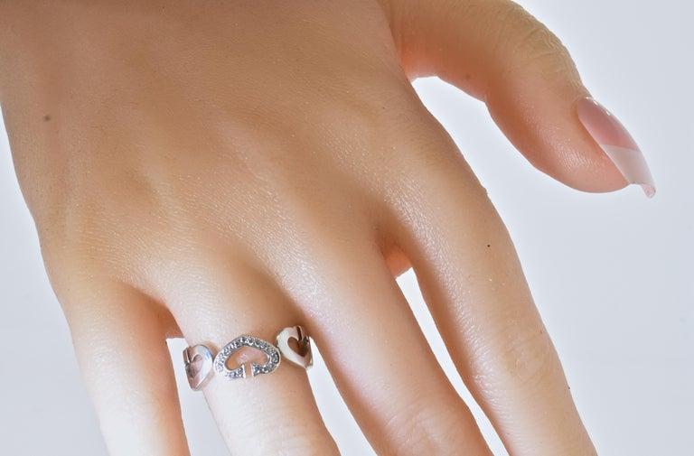 Women's or Men's Cartier Heart and Symbol Diamond 18K White Gold Ring For Sale