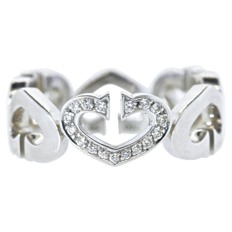 Cartier Heart and Symbol Diamond 18K White Gold Ring For Sale