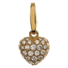 Cartier Heart Pave Charm Pendant & Charms 18K Yellow Gold with Diamonds