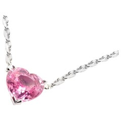 Cartier Heart Shape Pink Sapphire White Gold Pendant Necklace