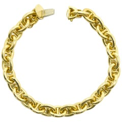 Cartier Heavy 18K Gold Vintage Link Bracelet Wide Nautical Anchor Chain Mariner