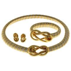 Cartier Hercules Knot Citrine Stainless Steel Gold Necklace Bracelet & Earrings