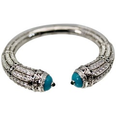 Cartier High Jewelry Diamond Turquoise Bracelet Deco Inspired 12.73 Carat