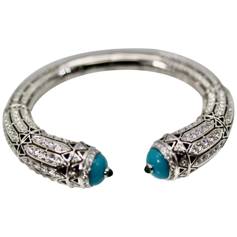 Cartier High Jewelry Diamond Turquoise Bracelet Deco Inspired 12.73 Carat For Sale