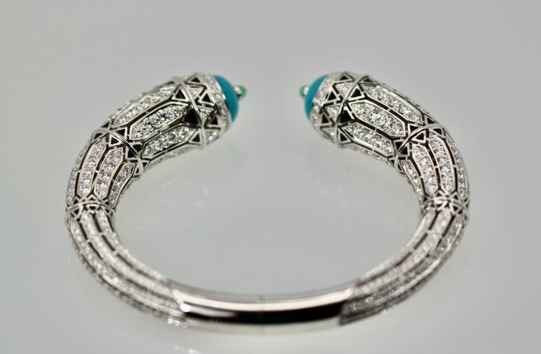Cartier High Jewelry Diamond Turquoise Bracelet Deco Inspired 12.73 Carat For Sale 5