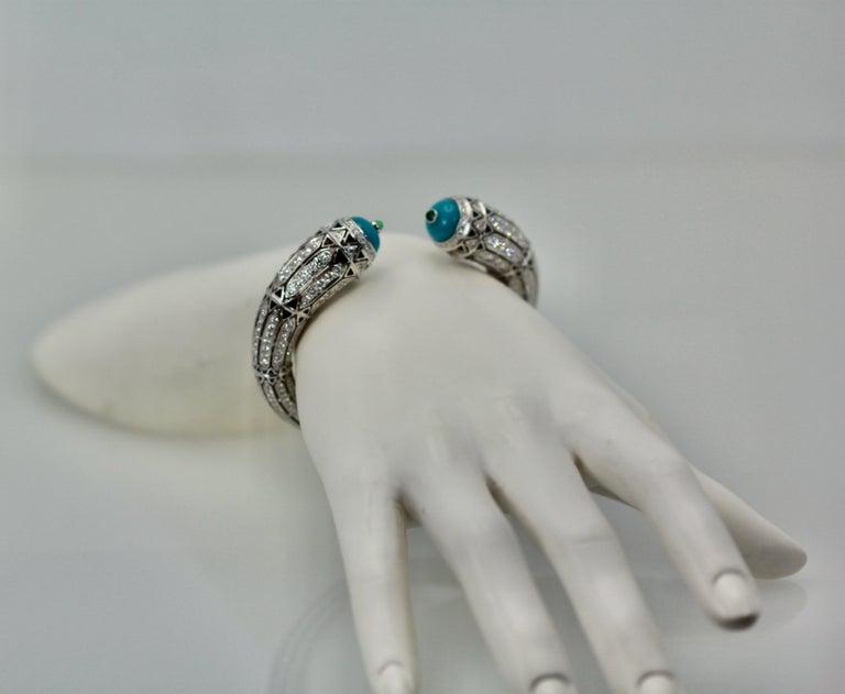 Art Deco Cartier High Jewelry Diamond Turquoise Bracelet Deco Inspired 12.73 Carat For Sale