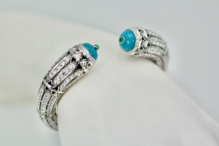 Round Cut Cartier High Jewelry Diamond Turquoise Bracelet Deco Inspired 12.73 Carat For Sale