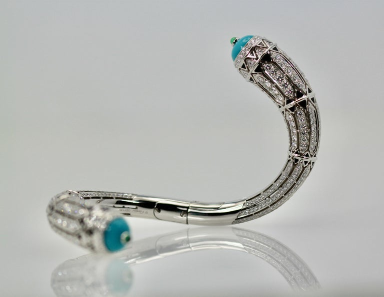Cartier High Jewelry Diamond Turquoise Bracelet Deco Inspired 12.73 Carat In Excellent Condition For Sale In North Hollywood, CA