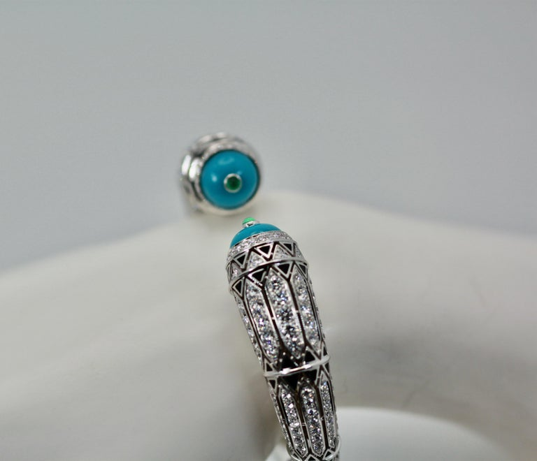 Cartier High Jewelry Diamond Turquoise Bracelet Deco Inspired 12.73 Carat For Sale 1