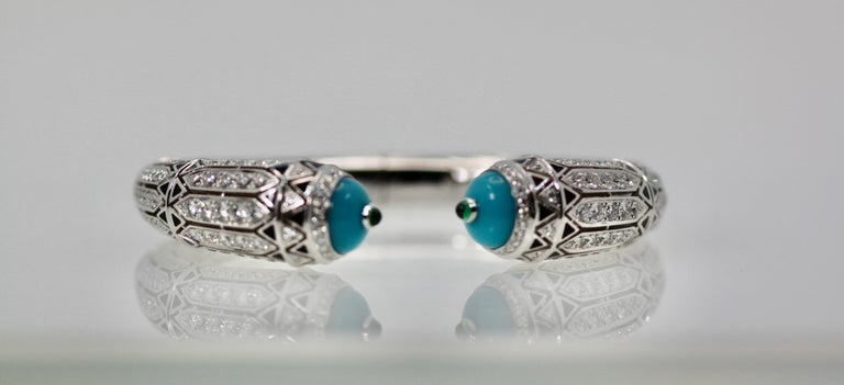 Cartier High Jewelry Diamond Turquoise Bracelet Deco Inspired 12.73 Carat For Sale 2