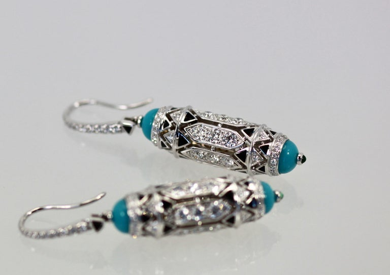 Art Deco Cartier High Jewelry Diamond Turquoise Earrings Deco Inspired 3.93 Carat For Sale