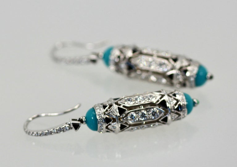 Cartier High Jewelry Diamond Turquoise Earrings Deco Inspired 3.93 Carat In Excellent Condition For Sale In North Hollywood, CA